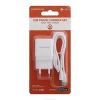 Зарядное устройство BOROFONE BA19A 1A USB + кабель microUSB White