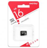 Карта памяти microSD 16GB Smartbuy class 10 с адаптером