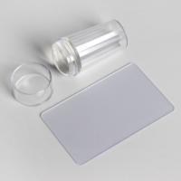 Набор для стемпинга, 2 предмета, штампик d = 2,7 см, цвет прозрачный