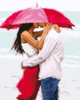 Картина по номерам GX 3037 Поцелуй под зонтом 40*50