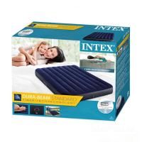 Матрас велюр синий  INTEX  (137*191*25 см) №64758