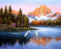Картина по номерам GX 5061 Утро на озере  40х50