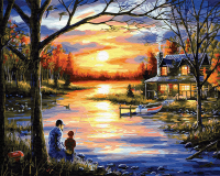 Картина по номера 40*50 Рыбалка с отцом 22464