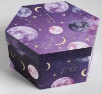 """Подарочная коробка шестигранник """"Космос""""21 × 21 × 10 см"""