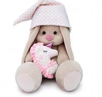 Мягкая игрушка «Зайка Ми с розовой подушкой - единорогом», 18 см
