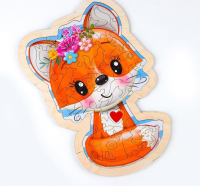 Фигурный пазл в рамке «Милая лисичка»