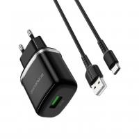 Зарядное устройство BOROFONE BA36A 18W 2USB + кабель TYPE-C  быстрая зарядка