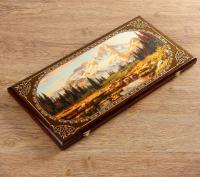 """Нарды """"Горы"""", деревянная доска 60х60 см, с полем для игры в шашки"""