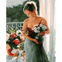 Картина по номера 40*50 Девушка с цветами 22060