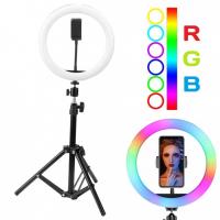 Кольцевая лампа со штативом 20 см, разноцветный свет