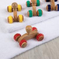 Массажёр универсальный, 4 колеса, деревянный, цвет МИКС