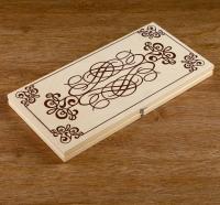 Нарды деревянная доска 40х40 см, с полем для игры в шашки