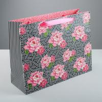 Пакет ламинированный горизонтальный, «Цветочный орнамент», 35 × 27 × 12 см