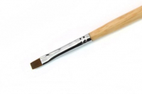 Кисть для геля деревянная серебряная ручка  #3, #4