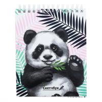 """Скетчбук на гребне """"Панда"""", твёрдая обложка, А6, 80 листов"""