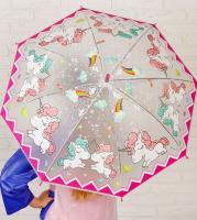 Зонт детский «Единороги», со свистком, цвет розовый